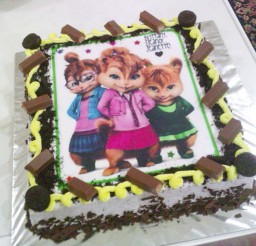 1024x768px Chipettes Cream Cookies Birthday Cake Picture in Birthday Cake