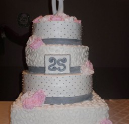 1024x1365px Pink Silver 25th Wedding Anniversary Cake Picture in Wedding Cake