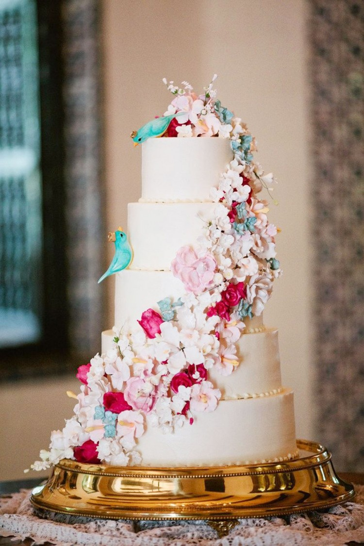 Whimsical Floral Wedding Cake Picture in Wedding Cake